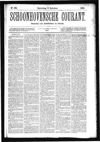 Schoonhovensche Courant 1885-10-03