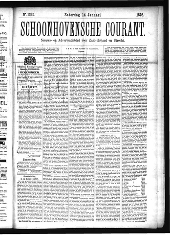 Schoonhovensche Courant 1893-01-14
