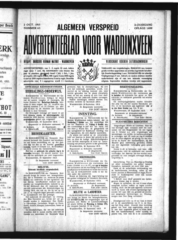 Advertentieblad Waddinxveen 1915-10-02