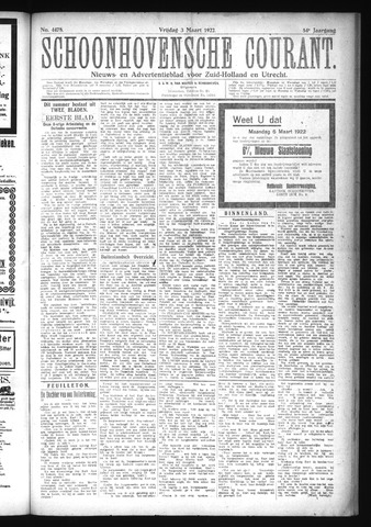 Schoonhovensche Courant 1922-03-03