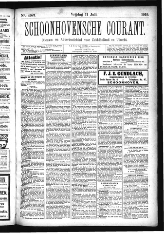 Schoonhovensche Courant 1919-07-11