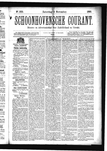 Schoonhovensche Courant 1892-11-05