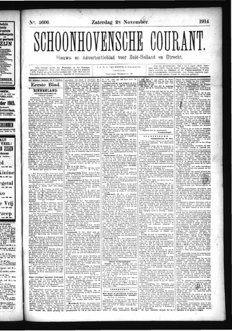 Schoonhovensche Courant 1914-11-28