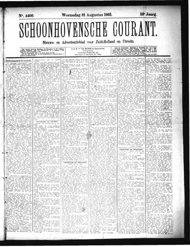 Schoonhovensche Courant 1921-08-31