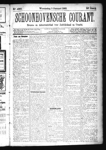 Schoonhovensche Courant 1921-01-05