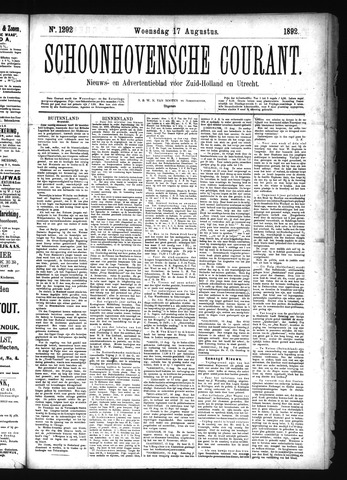 Schoonhovensche Courant 1892-08-17
