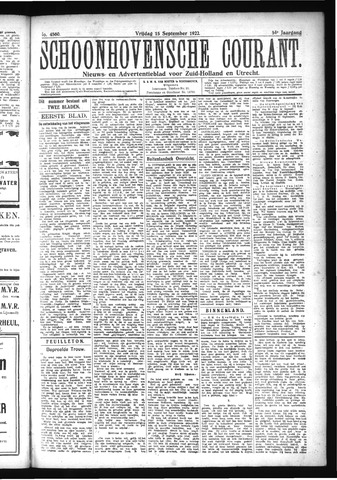 Schoonhovensche Courant 1922-09-15