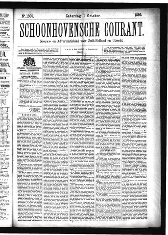 Schoonhovensche Courant 1892-10-01