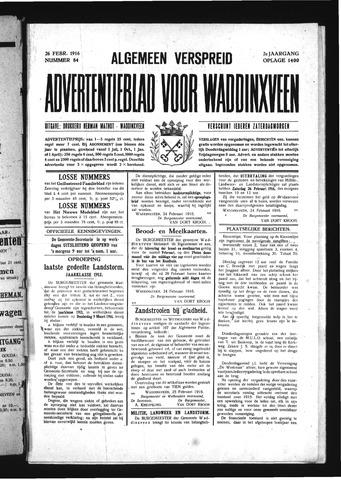 Advertentieblad Waddinxveen 1916-02-26