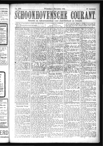 Schoonhovensche Courant 1922-11-01