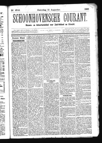 Schoonhovensche Courant 1906-08-11