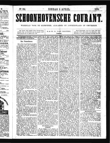 Schoonhovensche Courant 1874-04-05