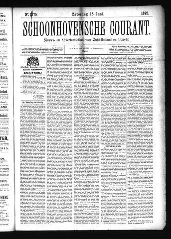 Schoonhovensche Courant 1892-06-18