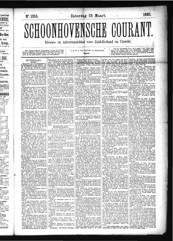 Schoonhovensche Courant 1893-03-25