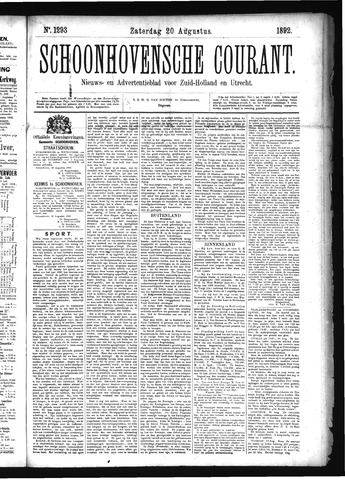 Schoonhovensche Courant 1892-08-20