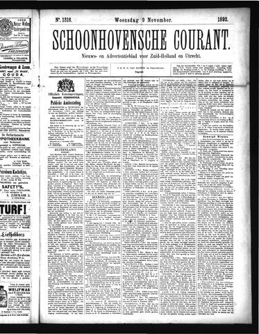 Schoonhovensche Courant 1892-11-09