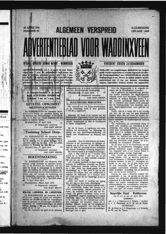 Advertentieblad Waddinxveen 1916-04-29
