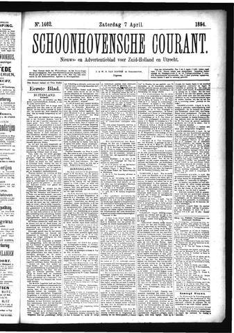 Schoonhovensche Courant 1894-04-07
