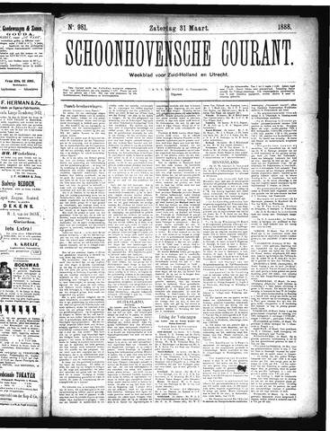 Schoonhovensche Courant 1888-03-31