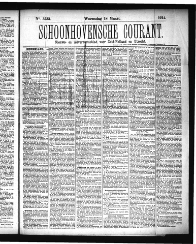 Schoonhovensche Courant 1914-03-18