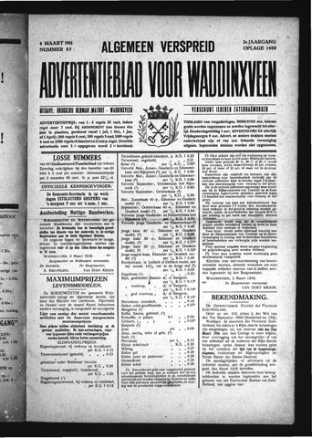 Advertentieblad Waddinxveen 1916-03-04