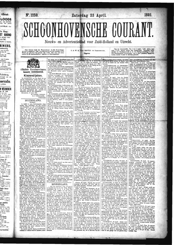 Schoonhovensche Courant 1892-04-23