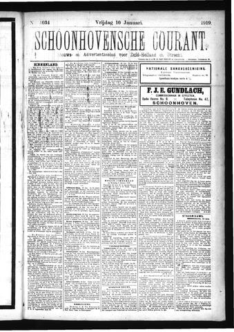 Schoonhovensche Courant 1919-01-10