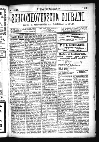 Schoonhovensche Courant 1919-11-28