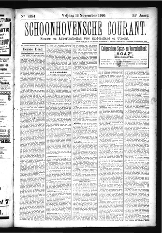 Schoonhovensche Courant 1920-11-12