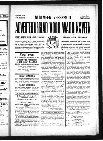 Advertentieblad Waddinxveen 1915-09-18
