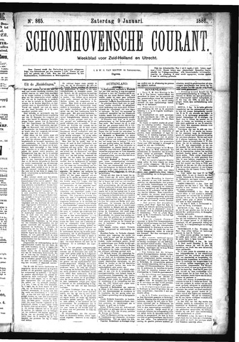 Schoonhovensche Courant 1886-01-09