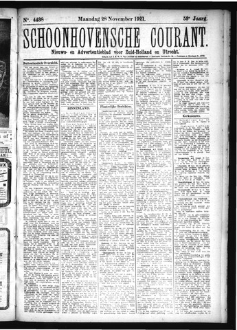 Schoonhovensche Courant 1921-11-28