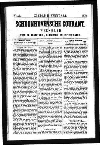 Schoonhovensche Courant 1870-02-20
