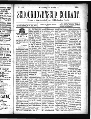 Schoonhovensche Courant 1892-12-28
