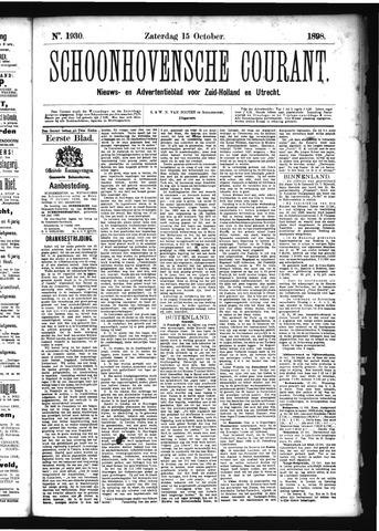 Schoonhovensche Courant 1898-10-15