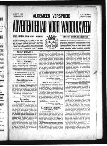 Advertentieblad Waddinxveen 1915-09-04
