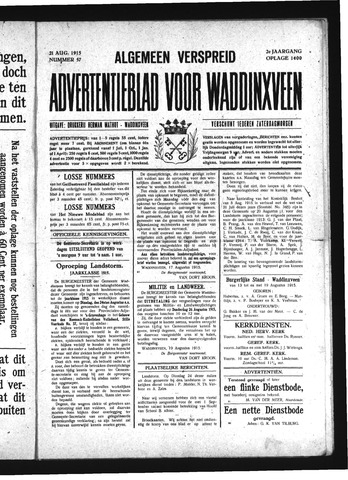 Advertentieblad Waddinxveen 1915-08-21