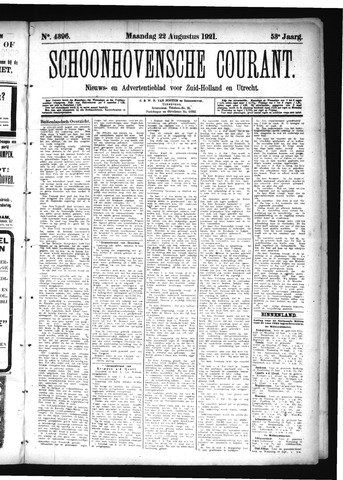 Schoonhovensche Courant 1921-08-22