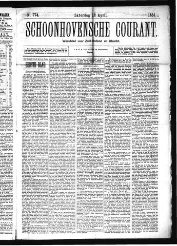 Schoonhovensche Courant 1884-04-12