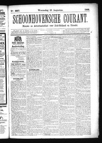 Schoonhovensche Courant 1909-08-25