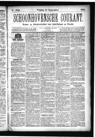 Schoonhovensche Courant 1916-09-15