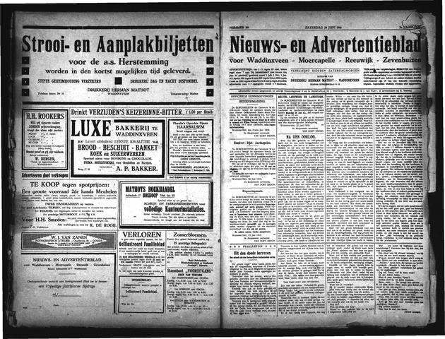Advertentieblad Waddinxveen 1916-06-24