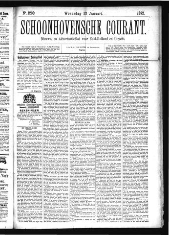 Schoonhovensche Courant 1892-01-13