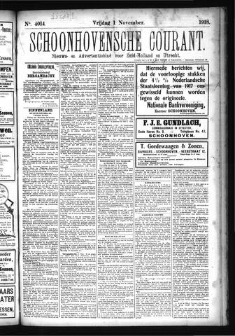 Schoonhovensche Courant 1918-11-01