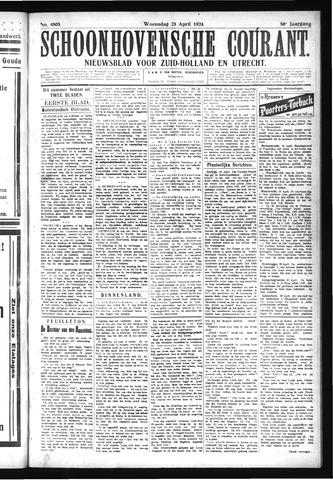 Schoonhovensche Courant 1924-04-23