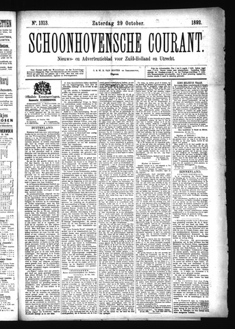 Schoonhovensche Courant 1892-10-29