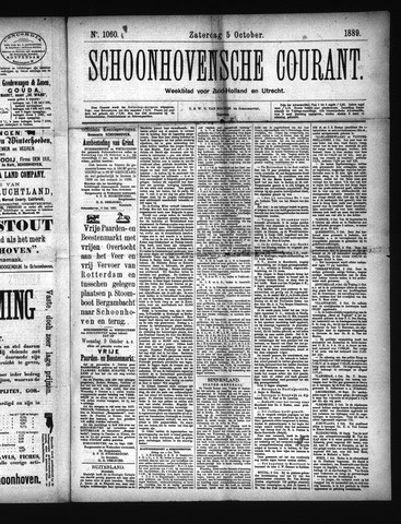 Schoonhovensche Courant 1889-10-05