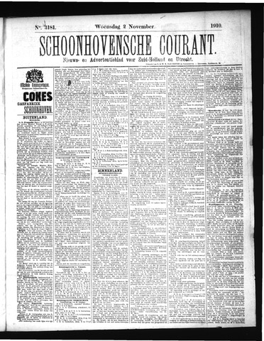 Schoonhovensche Courant 1910-11-02