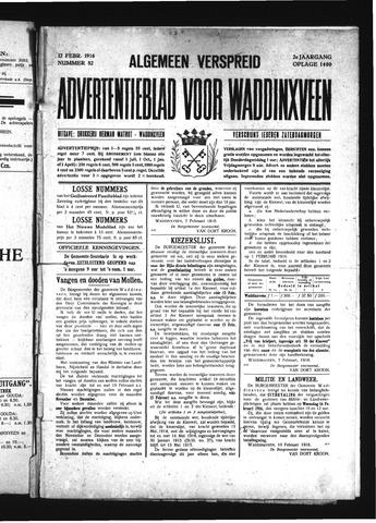 Advertentieblad Waddinxveen 1916-02-12