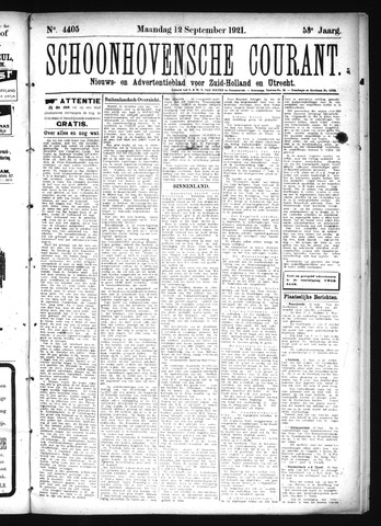 Schoonhovensche Courant 1921-09-12